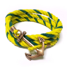 2017 free shipping fashion women New Jewelry decorated with hand woven cotton ship anchor Ou Meifeng Bracelet male female