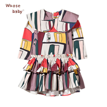 Girl Dress New DesignPrint Pattern Christmas Clothes Winter Fall Kids Clothing Long Sleeve Costumes Cartoon Party Princess Frock