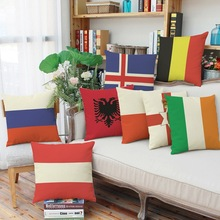 45x45cm  France RUSSIA FLAGS Linen cotton lumbar pillow case textile vintage pillow cover NOT Including inside filler