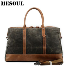 MESOUL Big Travel Duffle Bags Men Large Capacity Leather Canvas Bag Tote High Quality Waterproof Overnight Carry on Luggage Bag(China)