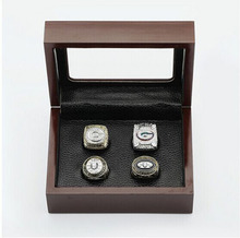 Cost Price Ring sets with Wooden Box Replica Baseball Copper High Quality 4pcs/Packs Green Bay Packers sports Championship Ring(China)