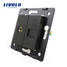 Manufacture Livolo, Black Crystal Glass Panel, 2 Gangs Wall Computer and TV Socket / Outlet VL-C7-1VC-12, Without Plug adapter