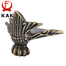 2PCS KAK 40x30mm Antique Wood Box Feet Leg Corner Protector Triangle Rattan Carved Decorative Bracket For Furniture Hardware