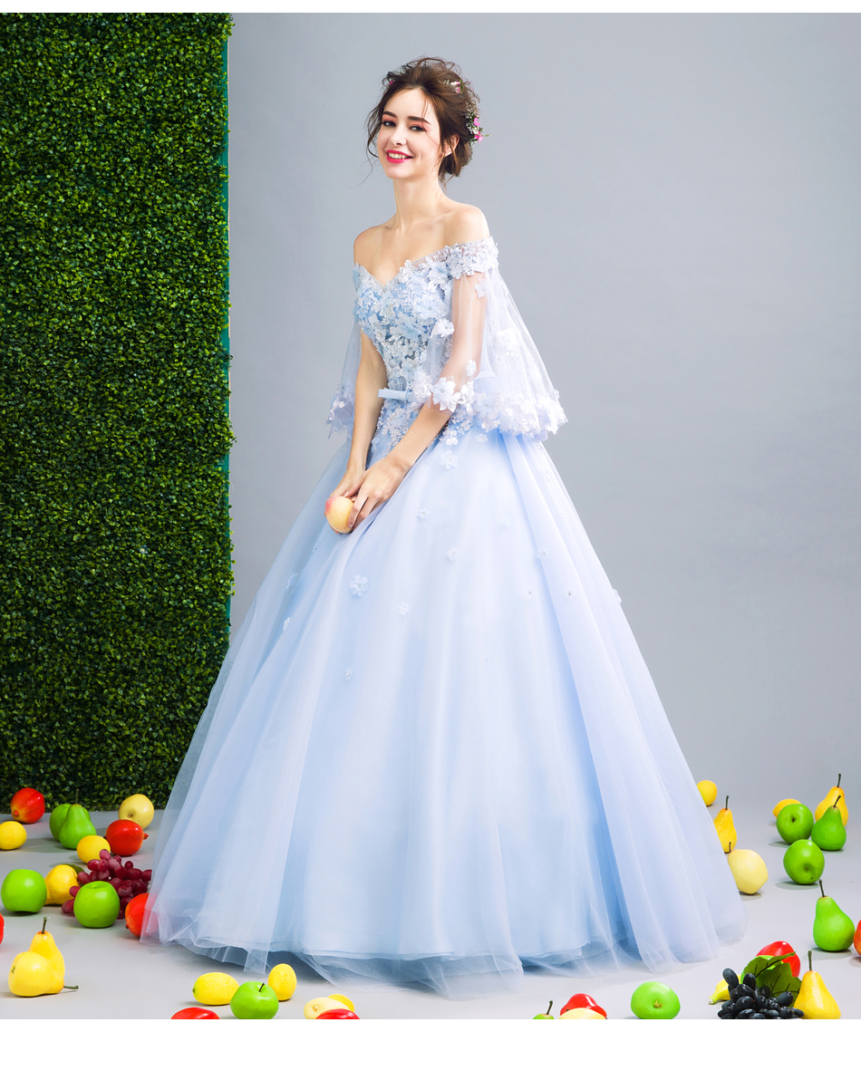 Angel Wedding Dress Marriage Bride Bridal Gown Vestido De Noiva Fairy, blue, handmade petals 2017 257 10