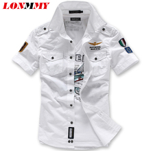 Buy LONMMY men shirt camisa mens shirts Air Force Imported clothing 2018 summer style mens dress shirts slim fit army military New for $14.55 in AliExpress store