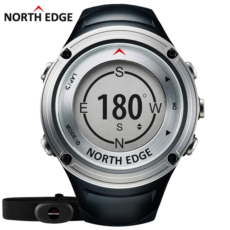 NORTH EDGE Men's GPS Sports watch Digital watches Water resistant military Heart Rate Altimeter Barometer Compass hours running(China)