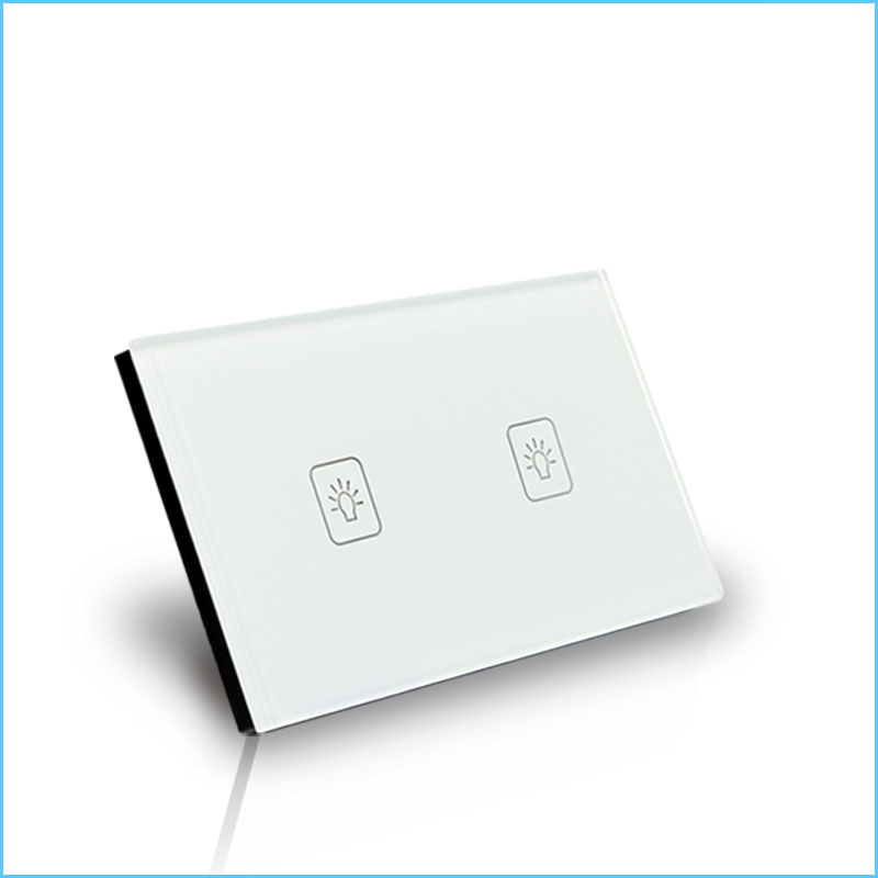 2 Gang 2 Way 118*72mm Wallpad Gold Glass Touch Screen Switch Panel, 110V-250V US Standard Wall Switch<br>