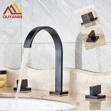 Contemporary Blackened Bathroom Tap 3 Hole Two Handle Cold Hot Water Faucet Deck Mount(China)