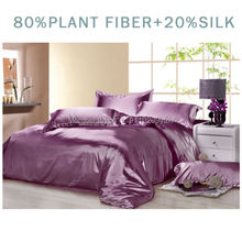 Luxury Silk 4Pcs Single/Twin/Double/Full/Queen/King Size Bed Quilt/Duvet/Doona Cover Set Solid Color Purple Smooth Soft Satin