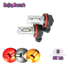 2x H9 PGJ19-5 Auto Car Motorcycle Driving Front Fog Light Bulbs 80W Cree Chips High Power Replace HID And Halogen Led Bulb