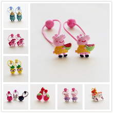 New Painted Resin Cartoon Owl Cat Rabbit Children Hair Ropes Elastic Hair Band Girls Accessories Kids Headdress Baby Headwear