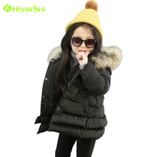 KEAIYOUHUO Baby Girls Jacket 2017 Winter Jacket For Girls Coat Kids Warm Fur Hooded Outerwear Children Clothes Infant Girls Coat