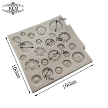 KLM-00220 Square Shape Fondant Cake Chocolate Mould Kitchen Baking Tool Silicone Mold 23 Holes Button Shape