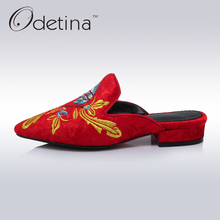 Odetina 2017 Brand Summer Elegant Vintage Mules Shoes for Women Low Heels Slingback Pumps Half Slippers Embroider Big Size 32-43