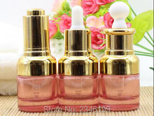 20ML 20G Pink Color Glass Oil Bottle, With Gold Color Cap Lotion Packig Vials, Glass Cosmetic Purfume Bottle, 18pcs/lot(China)