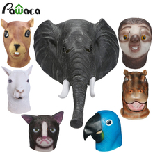 Latex Full Face Trump Cosplay Masks Elephant Squirrel Parrot Alpaca Hippo Animal Head Mask Masquerade Masks For Party Halloween(China)