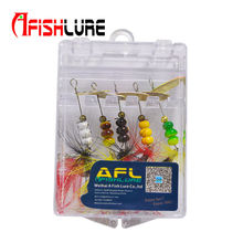 Afishlure 6g spinnerbait bass baits metal spoon lure spinner lure with treble hook feather tail fishing lure 5pcs/lot(China)