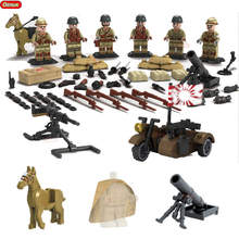 Oenux New WW2 The Taierzhuang Campaign Building Bricks 6PCS Chinese Army Japanese Army Figures Building Block Set Military Toys