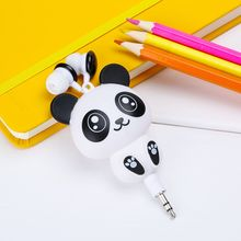 High Quality Earphone Cute Cartoon Panda Design Retractable Earphone For Cellphone Or PC Universal