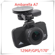 Auto Rearview DVR Camera Ambarella A7&GPS Tracker Driving Video Recorder Security Parking DVR FHD 1296P Dashcam car Black Box