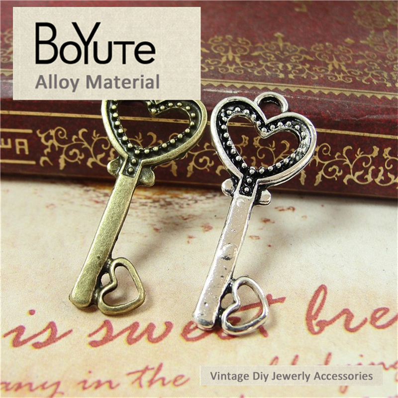 BoYuTe (100 Pieces/Lot) 19*32MM Vintage Accessories Parts Antique Bronze Silver Love Key Pendant Materials for Jewelry Findings