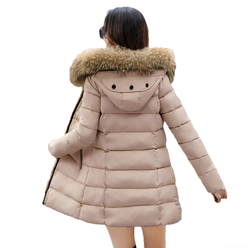 2017 Winter Women Hooded Coat Fur Collar Thicken Warm Jacket Womens Coat Girls Long Slim big fur Coat Jacket Down Parka L651Îäåæäà è àêñåññóàðû<br><br>