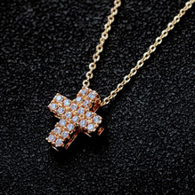 Micro Pave AAA Top Cubic Z Small Cross Pendant Necklace Fine Thin Chains Necklace for Women(China)