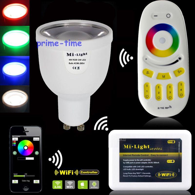 2.4G 4W GU10 RGBW / RGBWW LED SpotLight Bulb AC85-265V + WiFi Controller Hub + Mi.Light Wireless RF 4-Zone Group Touch Remote<br><br>Aliexpress