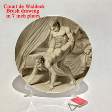 Count de Waldeck design history erotic Sex 18 pattern painting on 7 inch plates Sex position study plate bar home decoration(China)