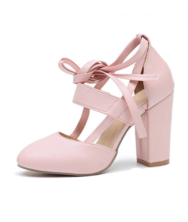 Women Pumps Comfortable Thick Heels Women Shoes Brand High Heels Ankle Strap Women Gladiator Heeled Sandals 8.5CM Wedding Shoes 18