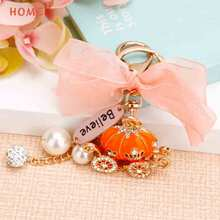 Sweet Girl Bag Pendant Crystal Pumpkin Car Keychain Keyring for Lexus LADA Chrysler Subaru Audi Alfa Romeo Toyota Fiat Suzuki(China)
