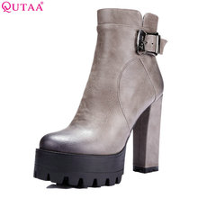 Buy QUTAA 2018 Women Ankle Boots Buckle Square High Heel Round Toe Spring Autumn Shoes Zipper Platform Sexy Ankle Boots Size 34-42 for $33.98 in AliExpress store