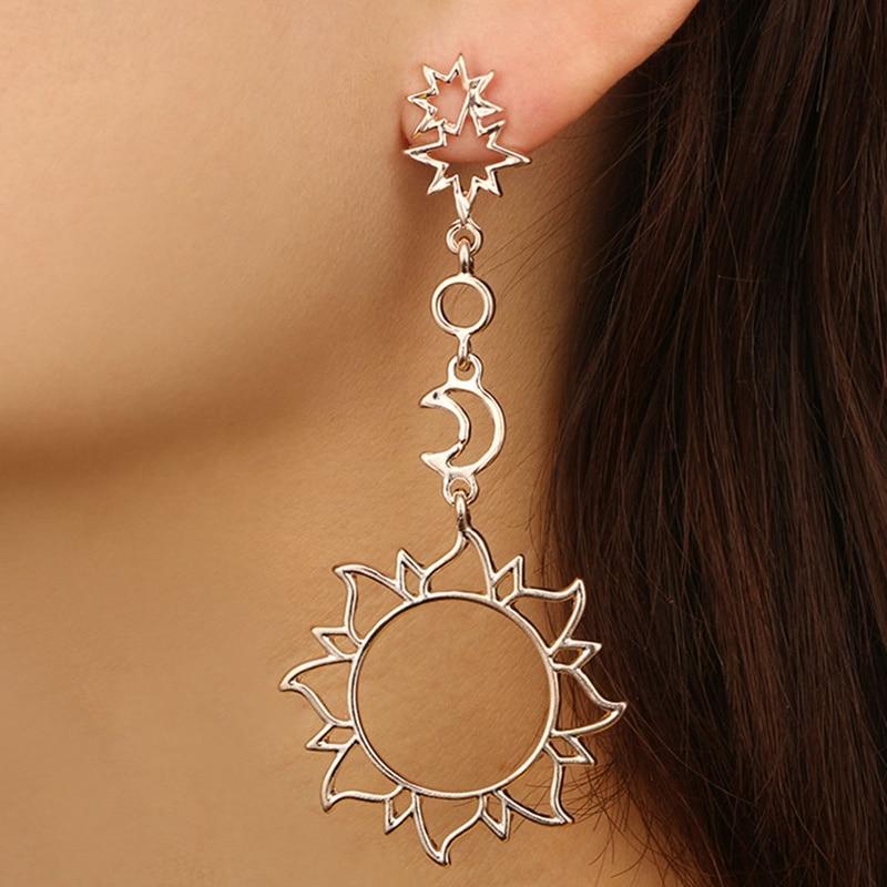 Asymmetrical Earrings Hollow Sun Moon Drop Pendant For Femelle Punk Pendiente Earrings Jewelry Gift