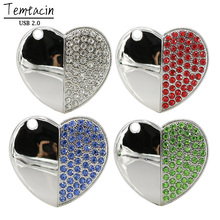 100% Full Capacity Diamond Crystal Heart USB Flash Drive Memory Stick PenDrive 4GB 8GB 16GB 32GB Love Heart Necklace USB Stick(China)
