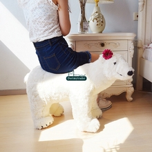 Dorimytrader Lovely Simulated Polar Bear Plush Toy Realistic White Bears Animals Kids Doll Gift Decoration Can Ride on the Back(China)