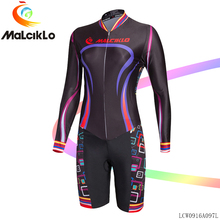 Malciklo Women Long Sleeve Cycling Jumpsuit Spring lady V-neck Elastic Bicycle Suit Coveralls Road Bike Clothing Sportswear