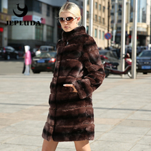JEPLUDA Elegant Women Various colors Natural Real Rex Rabbit Fur Coat Sleeve and Hem Detachable Real Fur Coat Warm Fur Jacket(China)