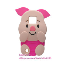 Soft Silicone Phone Cover Case For LG X Cam K580 3D Cute Cartoon Rose Red Big Ears Pig