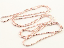 5pcs 1.5mm  Rose Gold Plated  Ball Beads Chain Necklace Bead Connector 65cm(25.5 inch) (Z1-19)