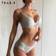 Buy 2018 White Lace Lingerie Sexy Bra Set Ultrathin Brassiere Embroidery Underwear Women Set Push Size Green Bra Panties sets
