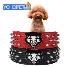 Crocodile leather imitation collar adiestramiento perros spiked dog collars for pitbulls cool wolf head pattern large dog collar