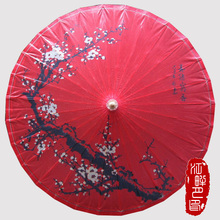 Red Oil Paper Umbrella Hong Yi Classical Tradition Umbrella Ancient Dance Cosplay Red Black Plum Wedding Hange Decoration(China)