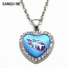 1pcs Heart Crystal Necklace Football Tennessee Titans Glass Pendant Necklace With 20 Inch Chains For Women Men Necklace Jewelry(China)