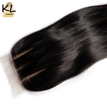 KL Hair Three Part Silk Base Closure Straight Human Hair Brazilian Remy Hair Silk Lace Closure Bleached Knots With Baby Hair(China)