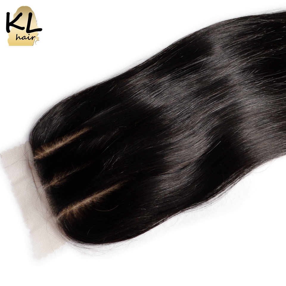 KL Hair Three Part Silk Base Closure Straight Human Hair Brazilian Remy Hair Silk Lace Closure Bleached Knots With Baby Hair(China (Mainland))