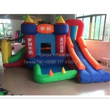 Free air blower inflatable slide bouncy castle party game water slide jumping castle with trampoline for kids