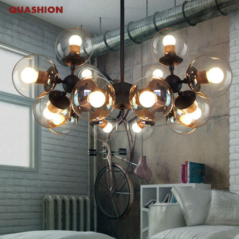 New design magic beans DNA wrought iron industrial  lamps Nordic Art Deco glass ball MOD coffee house bar pendant hanging light<br><br>Aliexpress