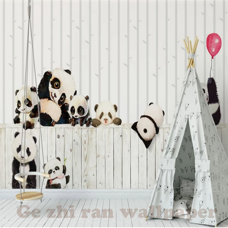 HTB105pie8jTBKNjSZFNq6ysFXXau - Custom 3D Cartoon Lovely Panda Mural Wallpaper For children Room