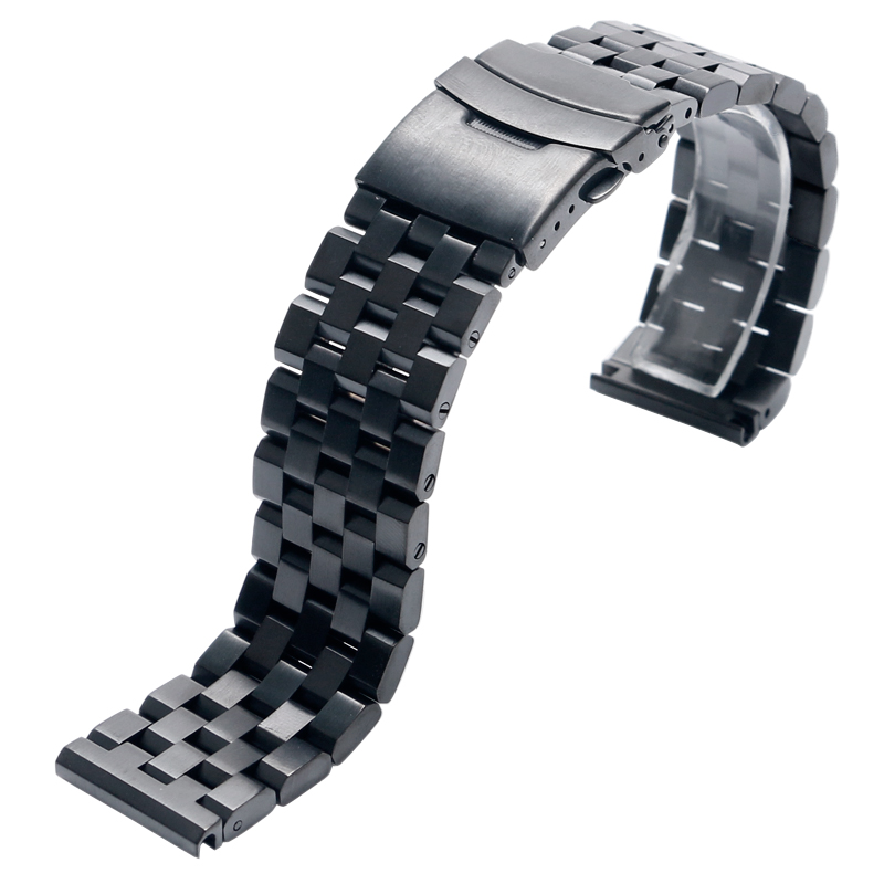 High Quality 2022mm SilverBlack Bracelet Men Women Watch Band Strap Cool Replacement Solid Link Stainless Steel Watchstrap 2017 Luxury (12)