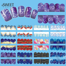 1Sheet Merry Christmas Style Nail Art Water Transfer Stickers Full Wraps Snowflake Watermark Nail Tips Decals DIY LABN205-216(China)